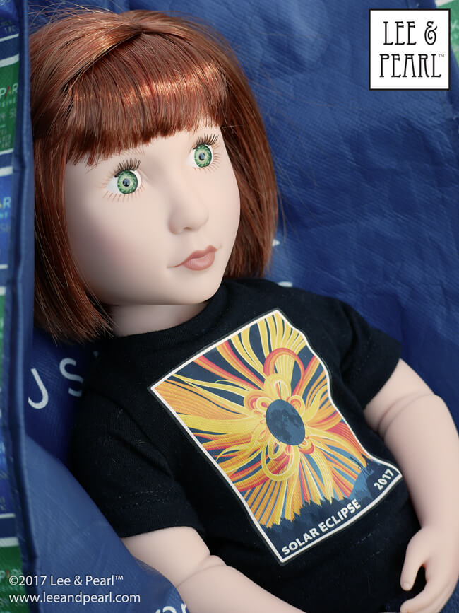 Ready for Solar Eclipse 2017! We made these T-shirts using Lee & Pearl Pattern 1001: Unisex T-shirts for dolls. Get the FREE heat transfer pattern on our website.
