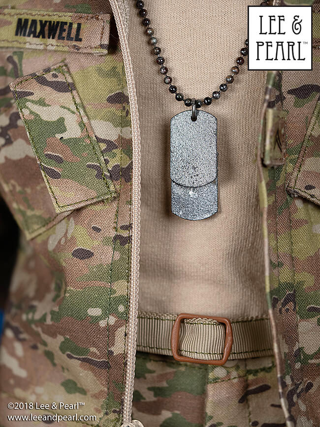 Make your own authentic-looking military dog tags for dolls, the perfect accessory for Lee & Pearl Pattern 1010: Army Combat Uniform for 18 Inch Dolls, or Military Uniform Separates, Caps & Hats Pattern BUNDLE for 18 Inch Dolls.
