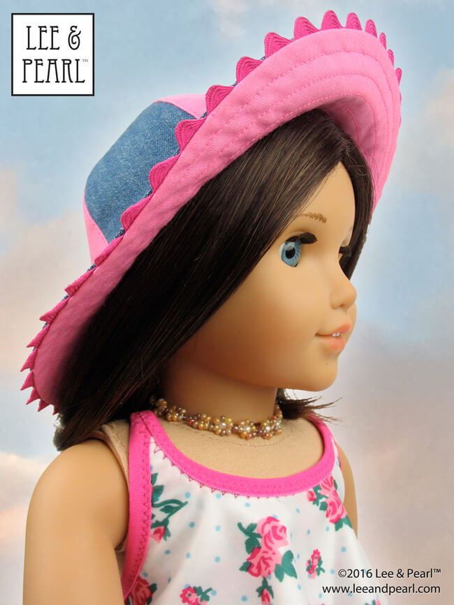 Want to make a truly unique stocking stuffer? Try a Lee & Pearl hat pattern for dolls! Here's Pattern 1017: California Girl Sun Hat for 18 Inch dolls, like our American Girl doll. Find this pretty, flattering hat pattern in the Lee & Pearl Etsy store at https://www.etsy.com/listing/462479197/lp-1017-california-girl-sun-hat-pattern