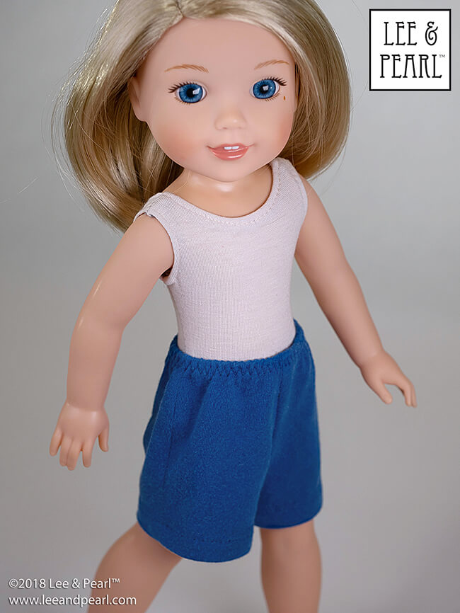 "Introducing Pearls by Lee & Pearl™ Pattern 101: Gym Shorts for 18 inch, 16 inch and 14 1/2 inch dolls. Pearls are patterns for people who want to learn new sewing skills — just one at a time, on a limited project, and with a well-designed reward after each lesson! Find ""Pearls"" for Wellie Wishers and others in the Lee & Pearl Etsy store."