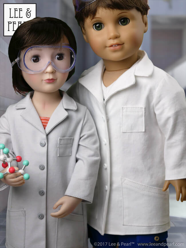 DON'T MISS OUT! Pattern 1025: She Blinded Me with Science Unisex Lab Coat (or Unlined Coat) and Safety Goggles for 18 Inch American Girl, 16 Inch A Girl for All Time and 14 1/2 Inch Wellie Wisher and similar dolls will only be our FREE pattern for Lee & Pearl mailing list subscribers for a FEW MORE DAYS. We'll be debuting a lovely new pattern soon — to receive BOTH patterns for free, sign up now!