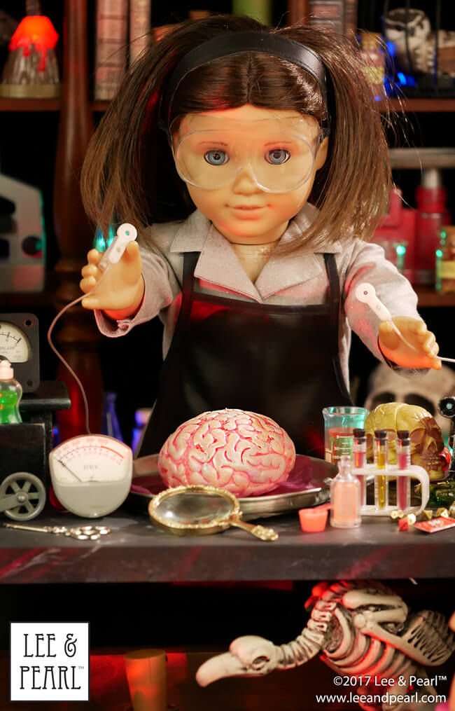 Happy Halloween from Lee & Pearl! Our American Girl Mad Scientist invites you to her laboratory for a ghoulishly great time, filled with photos, information and links on costumes and accessories, and craft tutorials!