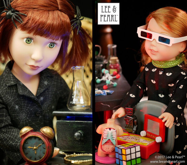 Happy Halloween from Lee & Pearl! Our Mad Scientist dolls invite you into our laboratory for a ghoulishly great time, filled with photos, information and links on costumes and accessories, and craft tutorials!