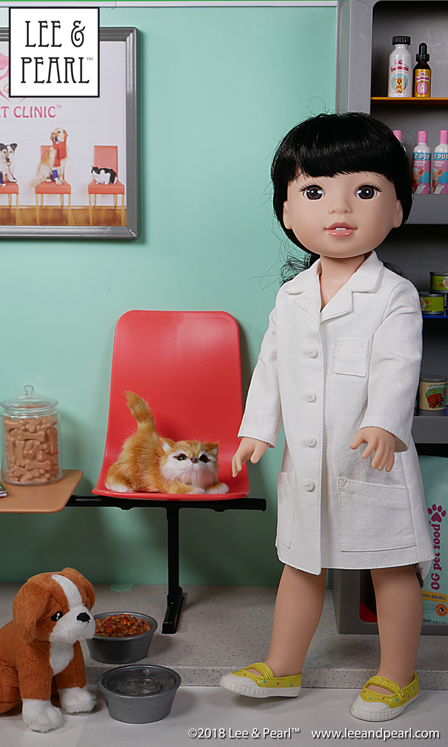 Attention ANIMAL LOVERS — enjoy plenty of creative doll play with the Our Generation Healthy Paws Vet Clinic and Lee & Pearl Pattern 1025: She Blinded Me with Science Unisex Lab Coats and Safety Goggles for 18 Inch, 16 Inch and 14 1/2 Inch Dolls. This pattern is our FREE gift to Lee & Pearl mailing list subscribers through early 2018. We'll debut a new 2018 FREE Pattern soon. To get BOTH patterns, be sure to sign up for our mailing list soon at www.leeandpearl.com before we release the new pattern. And please tell your friends to sign up, too — we don't want anyone missing out!