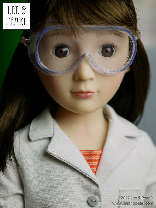 We made these adorable safety glasses for dolls using heavyweight clear vinyl from our MYSTERY BAG SALE — and Lee & Pearl Pattern 1025: She Blinded Me with Science Lab Coat and Safety Goggles for 18 Inch, 16 Inch and 14 1/2 Inch Dolls.