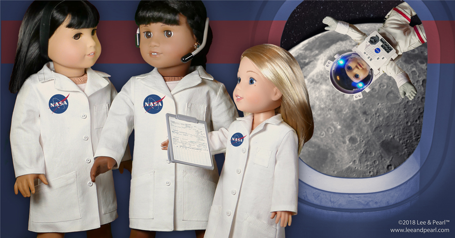 We're so excited about American Girl's 2018 STEM theme. We got ahead of the scientist curve last year with our Pattern 1025: She Blinded Me with Science Unisex Lab Coat (or Unlined Coat) and Safety Goggles for Dolls — but this pattern will be our FREE GIFT to mailing list subscribers for only a little while longer. Don't miss out. Sign up for our mailing list now to make sure your dolls are science lab and space station ready!