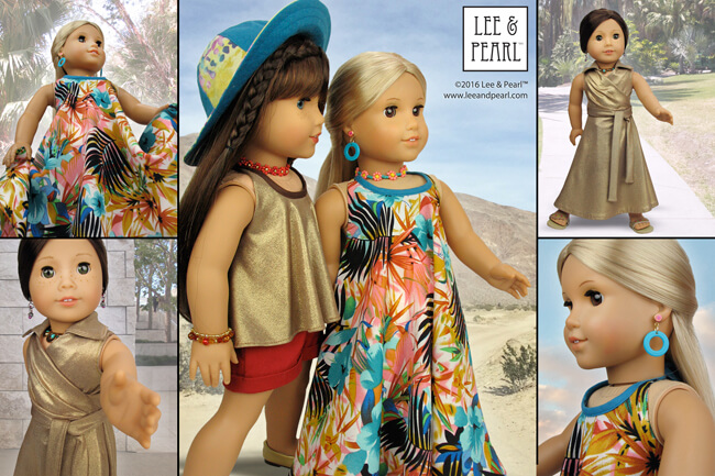 "The Lee & Pearl PALM SPRINGS Maxi Dress Fabric & Trim Kit is all about VINTAGE GLAMOUR, with generous cuts of a Hawaiian print poly challis and a subtle shimmering gold jersey lamé. Find this kit for 18 inch dolls in our Etsy store at https://www.etsy.com/listing/384311464/palm-springs-maxi-dress-fabric-trim-kit? — and get Pattern 1032: Desert Sunrise Maxi Dress, Halter Top and Beaded Chokers for 18"" Dolls at https://www.etsy.com/listing/397805083/lp-1032-desert-sunrise-maxi-dress-halter"