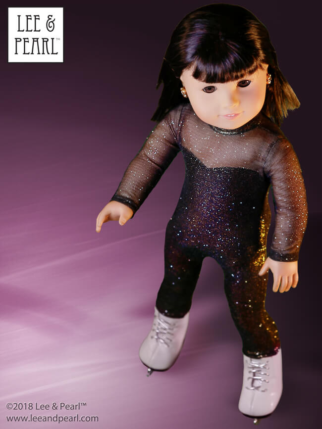 We made this sparkling catsuit costume for our American Girl doll skater using pattern pieces from our Pattern 1054: Superheroes! Cosplay Costumes and directions from our Pattern 1051: Ballet Basics Leotard and Unitard for 18 Inch Dolls. Find BOTH patterns — and our Pattern 1055 Skating Dresses — in the NEW Lee & Pearl Dance and Sports Performance Pattern Bundle, available in our Etsy store!