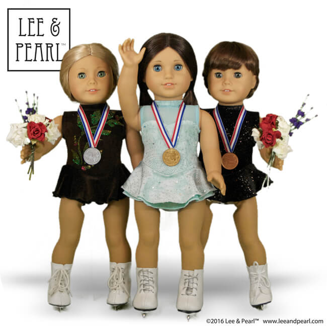 Make gold, silver and bronze-winning looks for your American Girl dolls, using Lee & Pearl Pattern 1055: Skating Dresses for 18 Inch Dolls and our easy tutorial for gold, silver and bronze medals.