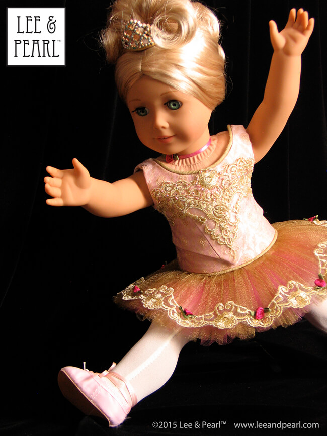 Make amazing holiday gifts like this Sugar Plum Fairy costume using the Lee & Pearl Ballet Performance Bundle for 18 Inch Dolls, which includes both Pattern 1072 and Pattern 1073 for mix-and-match bodice styles, with both the Classical and Romantic tutu for 18 Inch American Girl-size dolls.