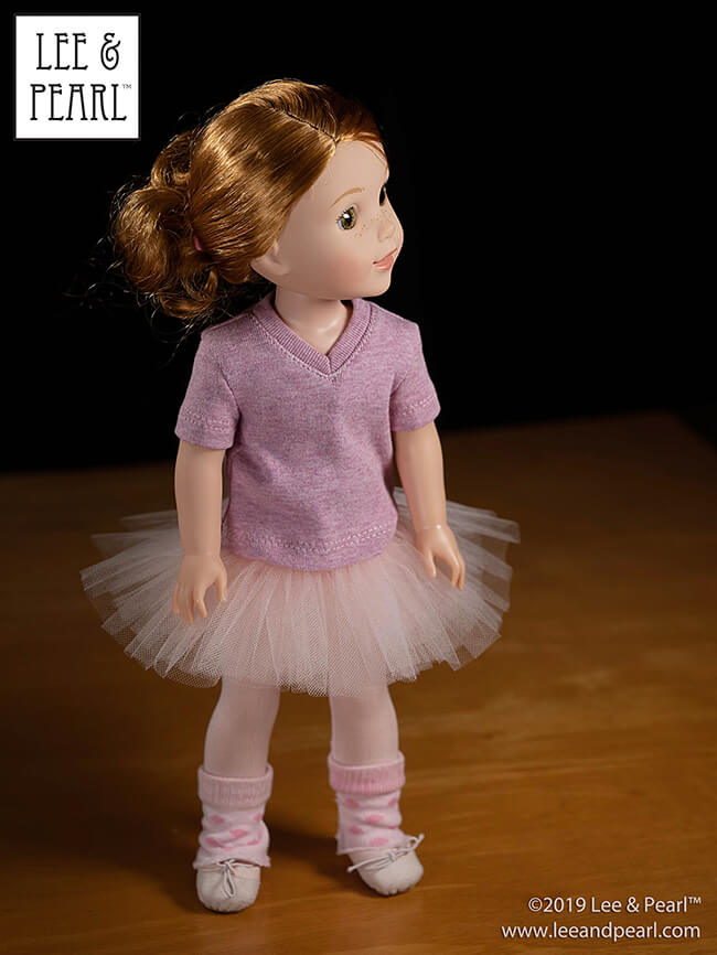 We're thrilled to announce the release of our full suite of Ballet Performance tutu and dance costume bodice patterns for 18 inch American Girl, 16 inch A Girl for All Time and 14 1/2 inch WellieWishers and similar dolls. Get the tutus — then complete your little dancer's wardrobe with leotards and unitards, easy-to-sew ballet slippers, and workout-casual t-shirts, all available in the Lee & Pearl Etsy shop!