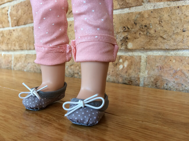 Introducing Lee & Pearl Pattern 1075: Ballet Slippers for 18 Inch, 16 Inch and 14 1/2 Inch Dolls — just like the real thing, and so easy to make you won't believe it. Lesley T. made this perfect pair of polka dot slippers for 14 1/2 inch Wellie Wisher dolls. Find this wonderful new pattern for American Girl, A Girl for All Time and Wellie Wisher dolls in the leeandpearl Etsy shop.
