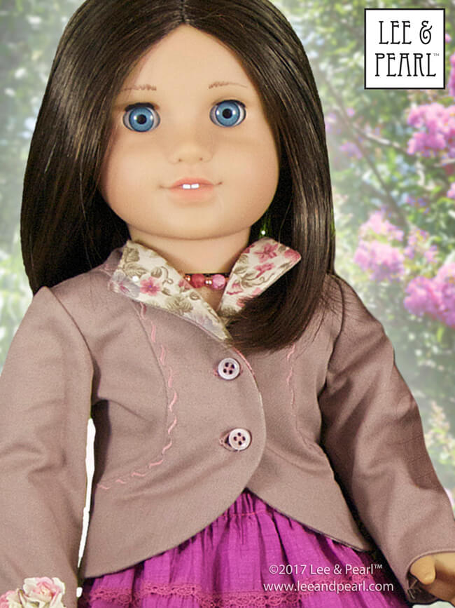 American Girl doll Chrissa looks fetching in the jacket from Lee & Pearl Pattern 1943: Molly Waves Goodbye 1940s Suit for 18 Inch Dolls