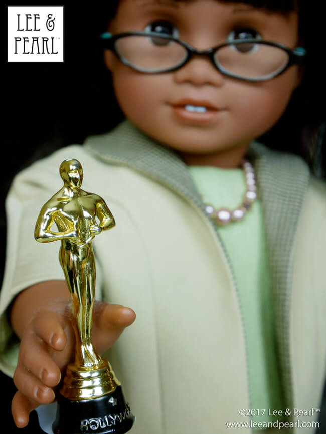 COMING SOON — Lee & Pearl Pattern 1964: Darling Doris! 1960s Ladies' Ensemble for 18 Inch Dolls -- like our American Girl, Melody, here dressed as Taraji P. Henson holding the Oscar we think she should have won for Hidden Figures!