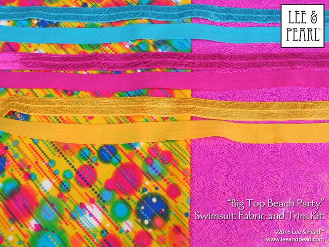 We love the colors in this cheerful kit — like cotton candy and popcorn and sunshine all mixed together. We've included generous cuts of high quality swimsuit and dance fabric and trim in our new, LIMITED EDITION Big Top Beach Party Fabric and Fold Over Elastic and Trim Kit. Get this great kit for 18 inch dolls — before it sells out — in our Etsy store at https://www.etsy.com/listing/275527394/big-top-beach-party-swimsuit-fabric