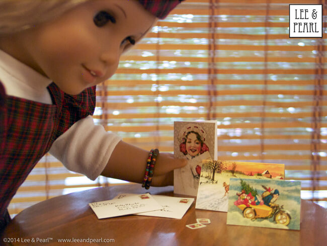 "Get these FREE printable vintage Christmas cards, envelopes and stamps for 18"" dolls like our American Girl Julie at www.leeandpearl.com/free.html"