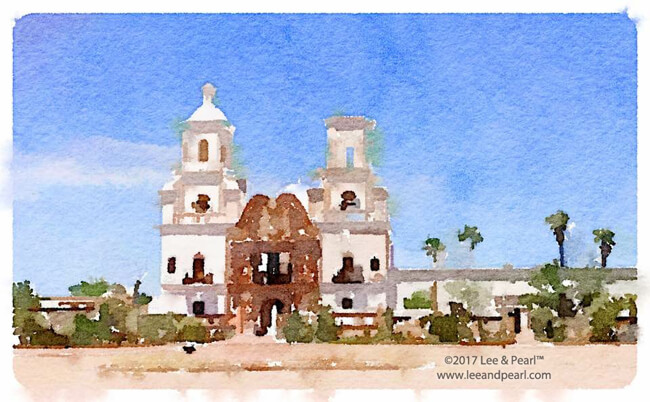 Join Lee & Pearl™ for a month on the road: San Xavier del Bac Mission Church on the Tohono O'odham San Xavier Indian Reservation south of Tucson, AZ.
