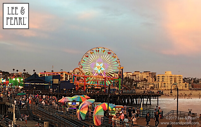Join Lee & Pearl™ for a month on the road: enjoying a sunset on the Santa Monica Pier, CA.