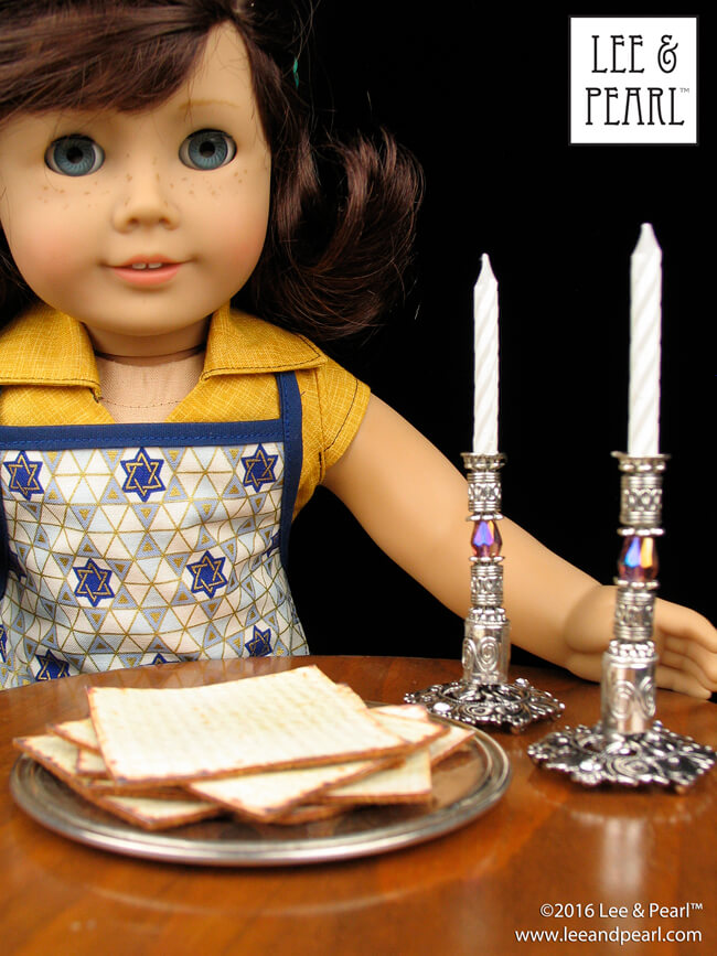 Chag Pesach Sameach and Shabbat Shalom! Our American Girl Doll Lindsey Bergman loves her new silver Sabbath candlesticks and the amazingly realistic Passover matzos we made with our Candlestick Tutorial and FREE Matzo Iron-On Printable. Find the tutorial and printable in the Lee & Pearl April 2016 Newsletter at http://leeandpearl.com/2016_04_newsletter.html#passover
