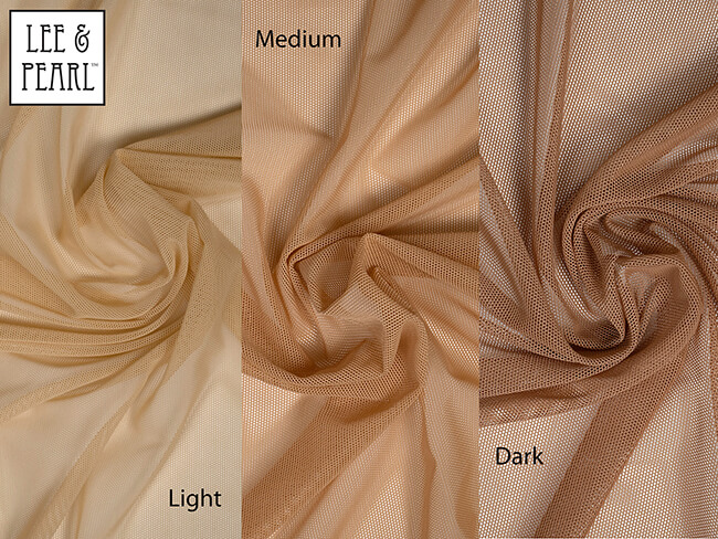 "LIGHT, MEDIUM and DARK skin tone STRETCH MESH, now available in the Lee & Pearl Etsy shop. This 60"" wide fabric is high quality and sturdy, made of 82% Nylon / 18% Spandex for full four-way stretch. It's perfect for skating and ice dancing dresses, gymnastic leotards, dance outfits, strapless gowns, pageant dress inserts, cosplay and costumes for dolls — or humans!"