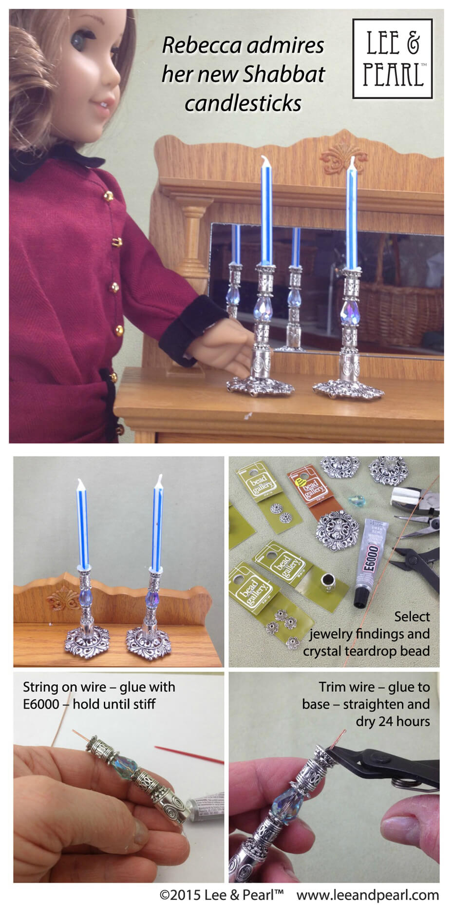 "Make these beautiful ""silver"" candlesticks for American Girl® doll Rebecca Rubin® using jewelry findings, wire and E6000 glue"