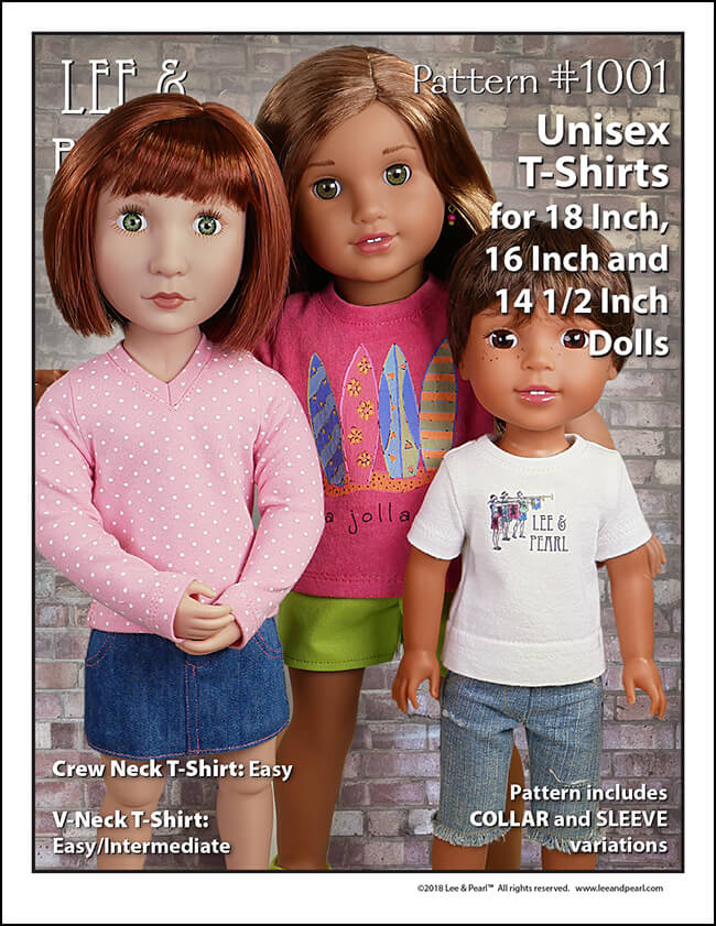 It's the perfect layering basic, now lovingly re-sized and redesigned for A Girl for All Time® dolls and Wellie Wisher® and similar dolls! Introducing Lee & Pearl Pattern 1001: Unisex T-Shirts for 18 inch, 16 inch and 14 1/2 inch dolls, now available in the Lee & Pearl Etsy store.