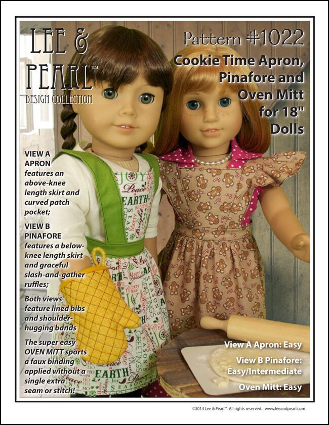 "Perfect for the holidays — Lee & Pearl Pattern 1022: Cookie Time Apron, Pinafore and Oven Mitt for 18"" Dolls"