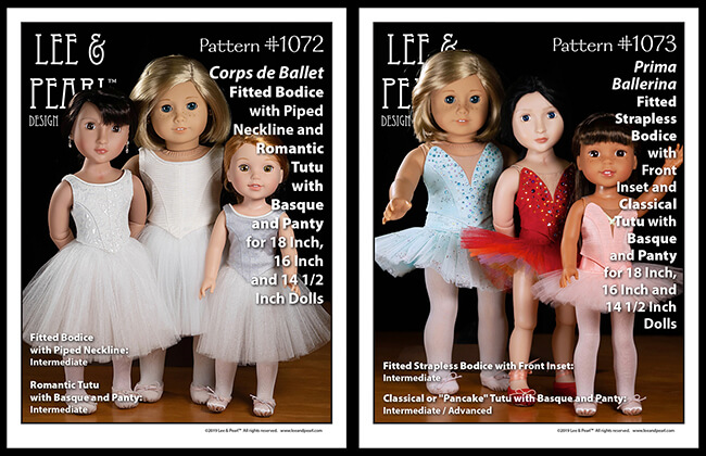 We are proud to announce the release of Lee & Pearl Ballet Performance patterns — newly redesigned for 16 inch A Girl for All Time® dolls and 14 1/2 inch WellieWishers® and similar dolls, as well as 18 inch American Girl® dolls. Buy both patterns, or get the discounted bundle for ultimate mix-and-match flexibility to make just-like-the-real-thing dance and recital tutus and costumes for all your favorite dolls.