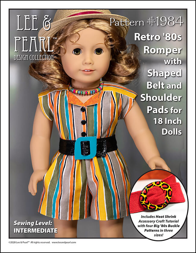 Lee & Pearl Pattern 1984: Retro '80s Romper with Shaped Belt, Shoulder Pads and Heat Shrink Buckle Craft for 18 Inch Dolls