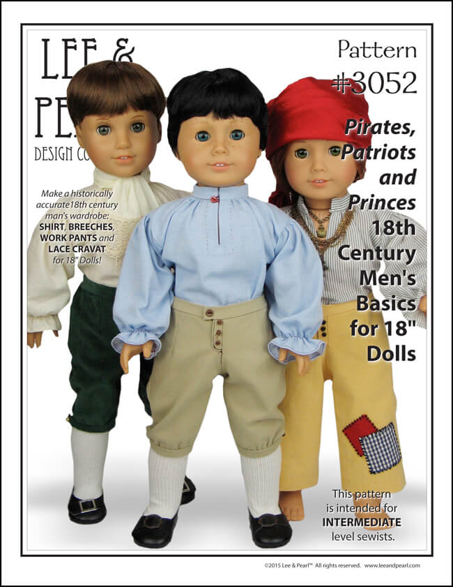 Lee & Pearl Pattern 3052: Pirates, Patriots and Princes - 18th Century Men's Basics for 18 Inch Dolls, available in the Lee & Pearl Etsy store.
