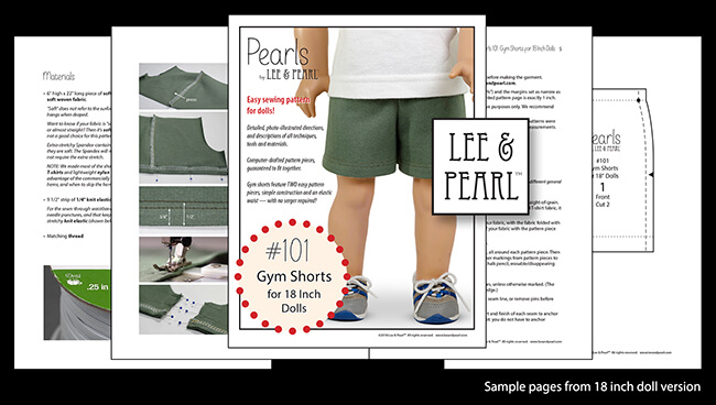 "Introducing Pearls by Lee & Pearl™ Pattern 101: Gym Shorts for 18 inch, 16 inch and 14 1/2 inch dolls. Pearls are patterns for people who want to learn new sewing skills — just one at a time, on a limited project, and with a well-designed reward after each lesson! Find ""Pearls"" for American Girl dolls and others in the Lee & Pearl Etsy store."