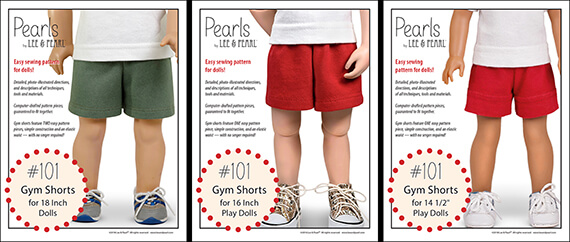 "Introducing the first set of patterns in our NEW Pearls by Lee & Pearl™ line — Pattern 101: Gym Shorts for 18 inch, 16 inch and 14 1/2 inch dolls. Pearls are patterns for people who want to learn new sewing skills — just one at a time, on a limited project, and with a well-designed reward after each lesson! Find ""Pearls"" for American Girl dolls and others in the Lee & Pearl Etsy store."