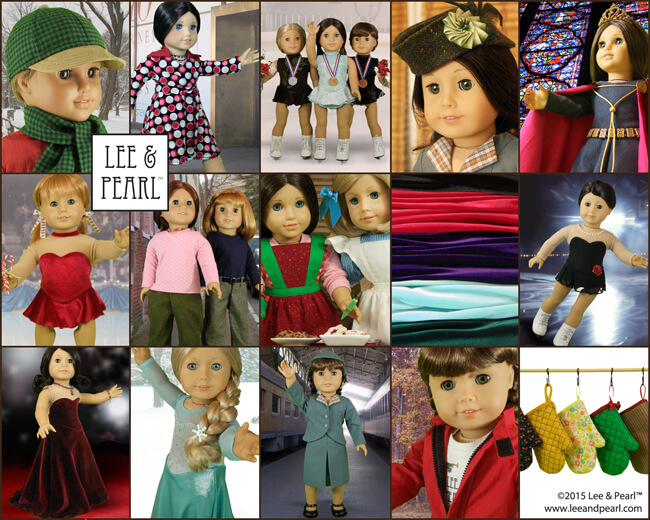 Make these great cold weather fashions, winter sports outfits and holiday clothes and accessories using Lee & Pearl patterns and Lee & Pearl fabric kits | available in our Etsy store at https://www.etsy.com/shop/leeandpearl