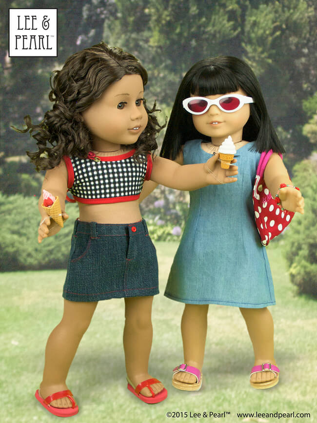 "Our American Girl™ dolls brought Japanese eraser treats to the picnic! Our #26 wears a crop top made using Lee & Pearl Pattern #1058: Retro Ruffled Swimsuit and High Waisted Bikini for 18"" Dolls, and a classic denim skirt from L&P #1041: Slim Skirts for 18"" Dolls.Ivy wears a sundress made from the slip pattern in Lee & Pearl Pattern #1943: Molly Waves Goodbye. These patterns are available in our Etsy shop at https://www.etsy.com/shop/leeandpearl"