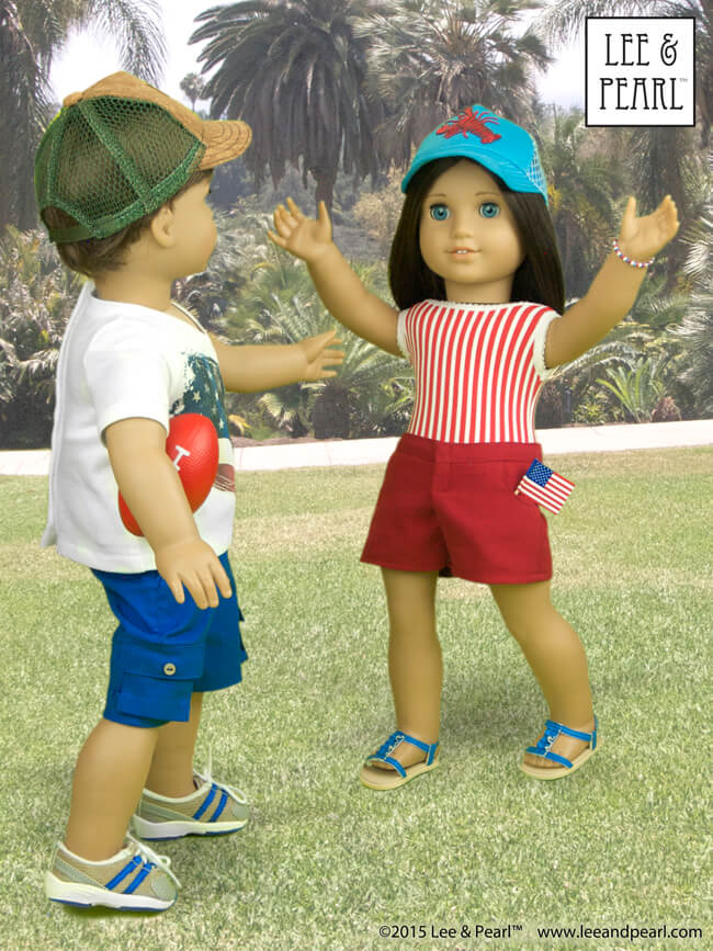 "At Lee & Pearl, we are proud of our patterns for American Girl™ dolls — and custom boy dolls! Our Jack's v-neck t-shirt was made using Lee & Pearl Pattern #1001: Unisex T-Shirts for 18"" Dolls and his shorts were made using L&P #1004: ""Boy Style"" Pants and Cargo Shorts for 18"" Dolls. Both Jack and Chrissa wear easy-to-make trucker caps from L&P #1008: Classic Ball Cap and Big Fat Trucker Hat for 18"" Dolls. These patterns are available in our Etsy shop at https://www.etsy.com/shop/leeandpearl"