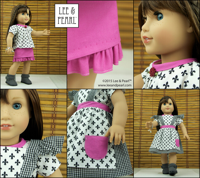 "American Girl doll Grace™ wears an outfit made using our Bonjour, Paris Fabric & Trim Kit and Lee & Pearl patterns #1041: Slim Skirts for 18"" Dolls, #1022: Cookie Time Apron, Pinafore and Oven Mitt, and Pattern #1033: Bonjour, Paris Mini Wardrobe for 18"" Dolls. Get the fabric kit and skirt and apron patterns in our Etsy store at https://www.etsy.com/shop/leeandpearl. And get the Bonjour, Paris pattern as our 2015 FREE gift to newsletter subscribers at http://leeandpearl.com/index.html#freepattern"