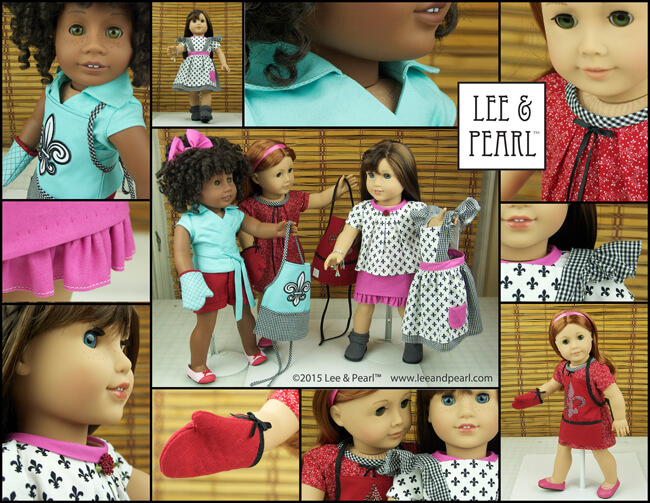 We made an entire Paris-themed wardrobe for our American Girl™ doll Grace and her friends using our favorite Lee & Pearl patterns and just ONE Bonjour, Paris Fabric & Trim Kit, a set of six coordinated fat quarters of high quality cotton fabric, with matching ribbon and ribbon flower trim. We made three full outfits — several pieces each for Grace and her friends Ella and Maddy — out of just one kit. Get the kit while supplies last in our Etsy store at https://www.etsy.com/shop/leeandpearl